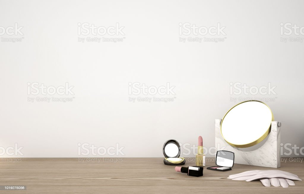 Workspace of kitchenware and stationary on wood table and white background stock photo