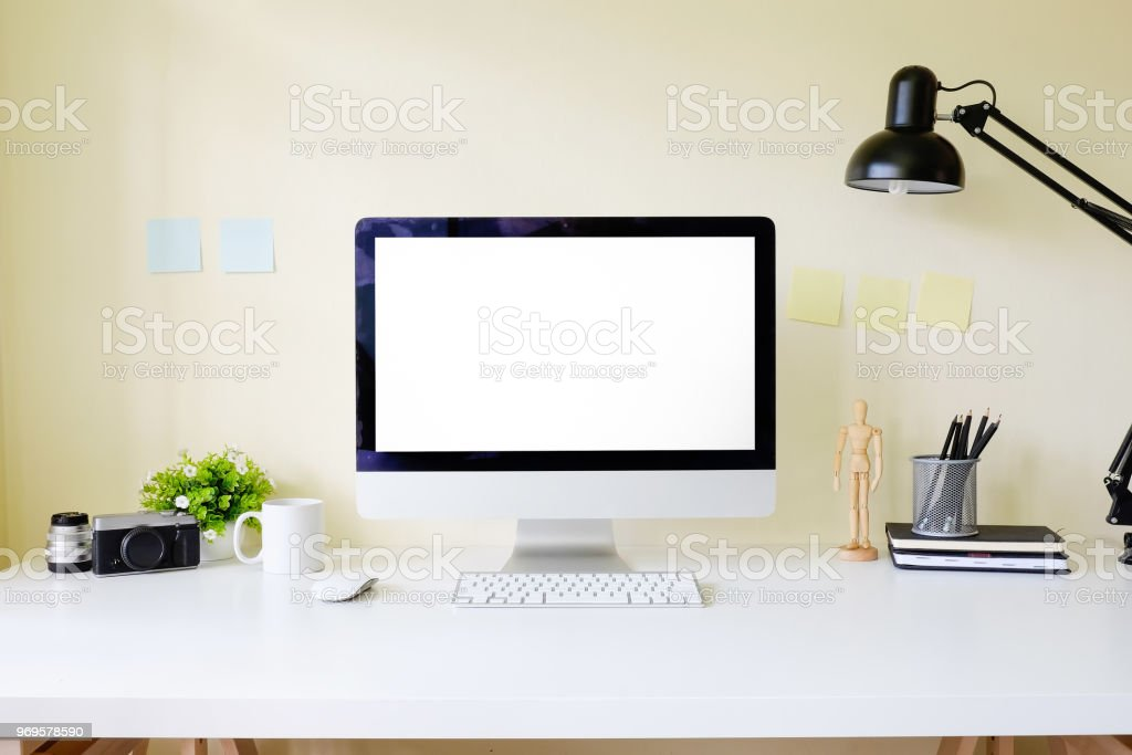 Workspace Office Table With Pc Computer Mockup Display On