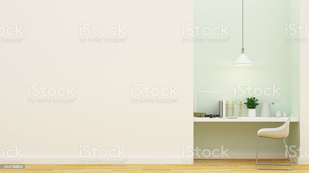 workspace pastel green design - 3D Rendering stock photo