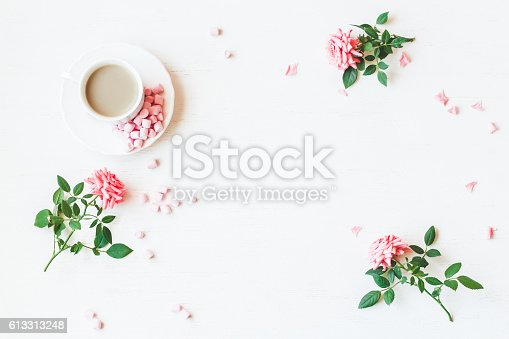 Workspace Rose Flowers Flat Lay Top View Stock Photo