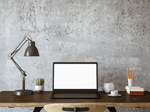 Workspace with Blank Screen Laptop