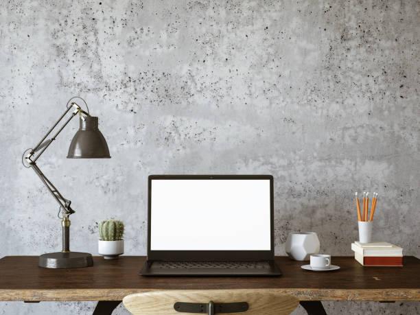 espaço de trabalho com laptop de tela em branco - escrivaninha - fotografias e filmes do acervo
