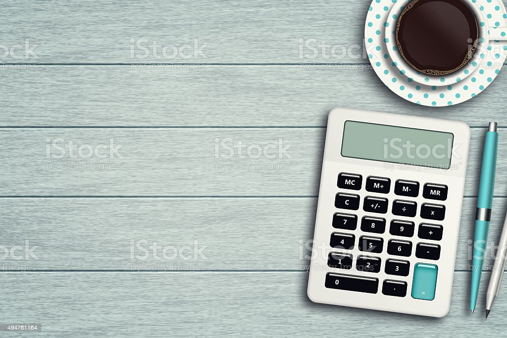 workspace with calculator, pen, pencil and cup of coffee stock photo