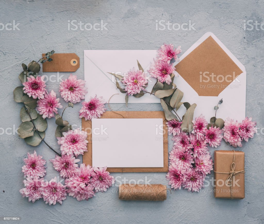 Flat Wedding Invitations: Workspace With Card And Envelope Wedding Invitation Mock