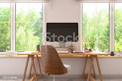 1090975842 istock photo Workspace with Computer and Desk 1221218209