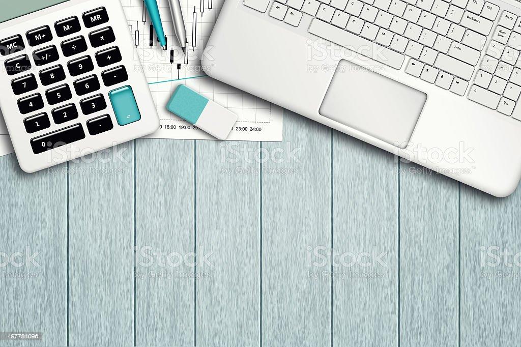 Arbeitsplatz mit computer, Diagramm, Diagramm, Rechner und Briefpapier Lizenzfreies stock-foto