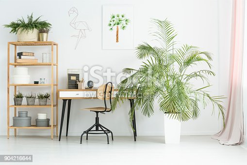 White workspace in flat interior with potted plants, desk, poster and wooden rack with decorations