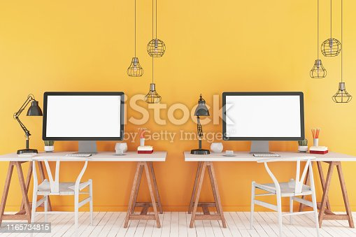 Workspace with mock up computer screen. 3D Render