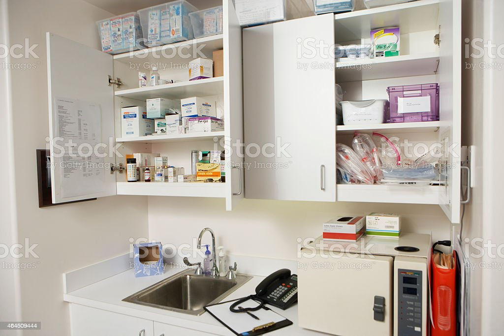 Workstation in a medical environment stock photo