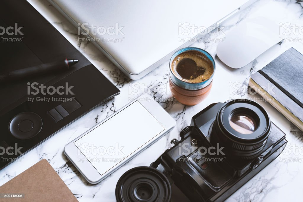 Workstation lay out stock photo