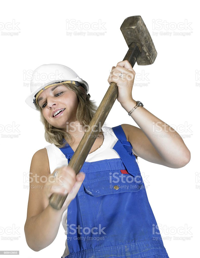workwear-dressed girl with sledge hammer royalty-free stock photo