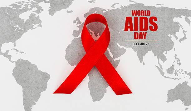 World AIDS Day on world map – Foto