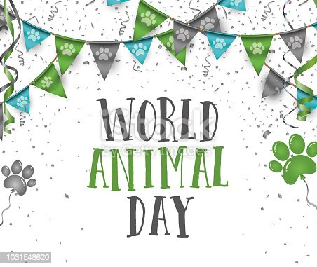 istock World animal day 4 october bunting party flags with dog animal pets paws print 1031548620