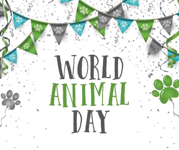 World animal day 4 october bunting party flags with dog animal pets paws print stock photo