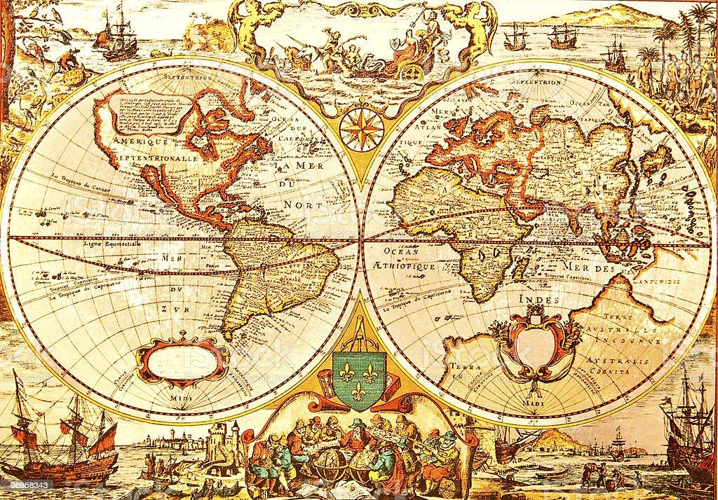 World Antique Map stock photo