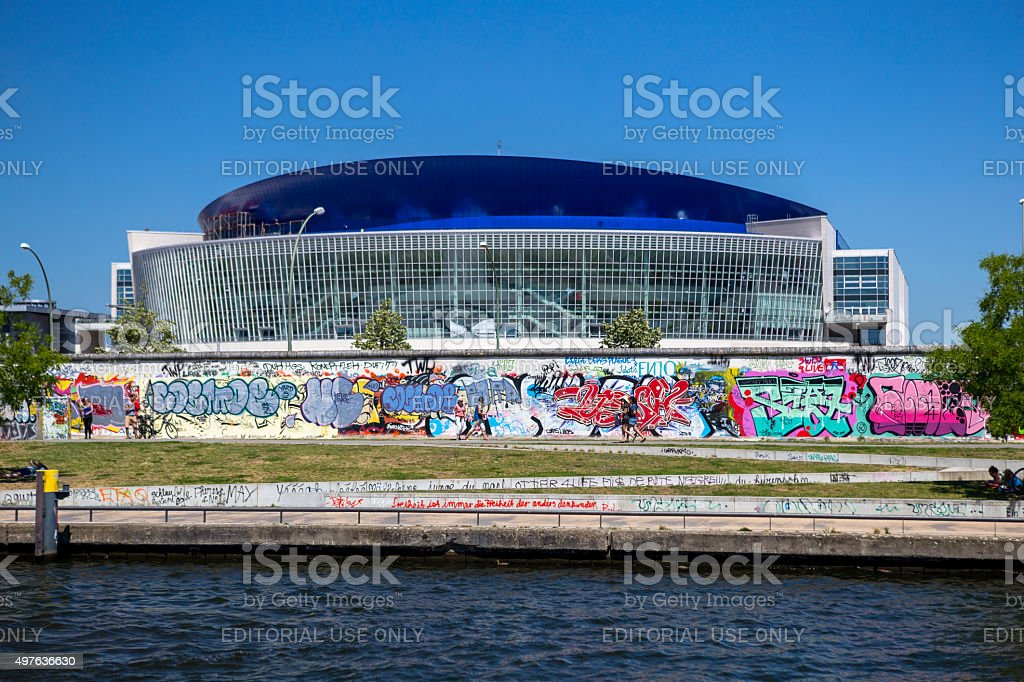O2 world arena and The Berlin Wall. stock photo