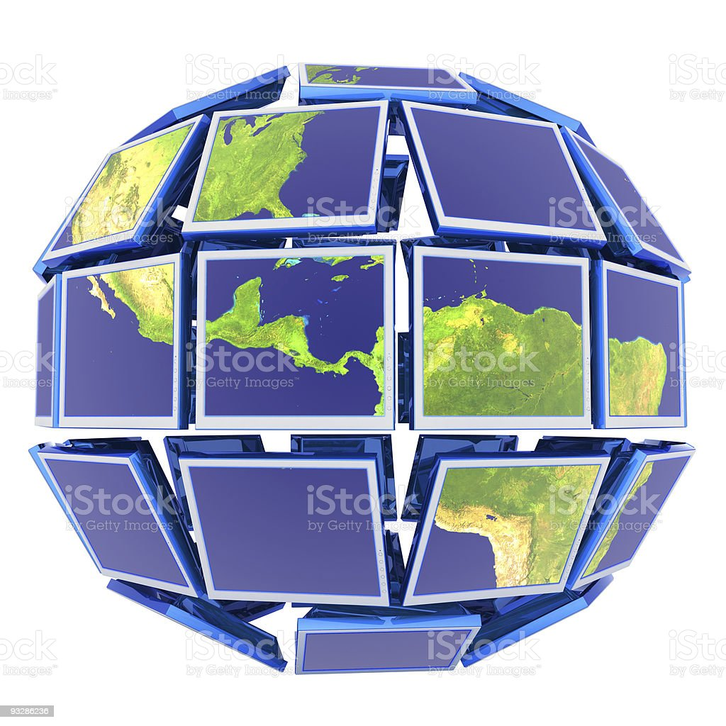 World at monitors royalty-free stock photo