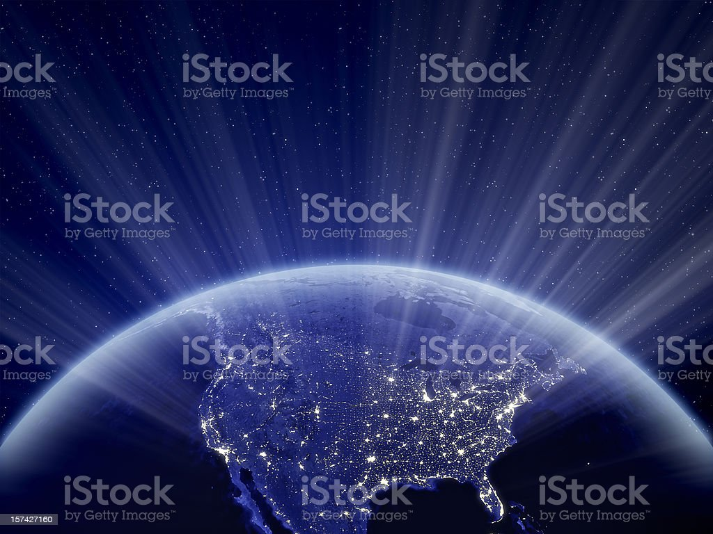 World at Night - North America stock photo