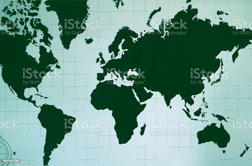 World Atlas in Deep Green Color stock photo