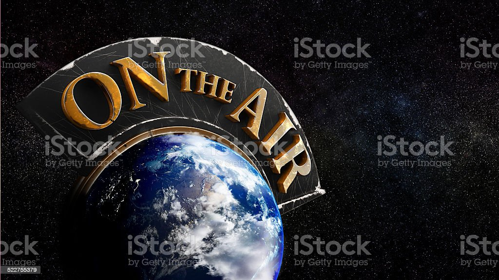 World breaking news on the air stock photo