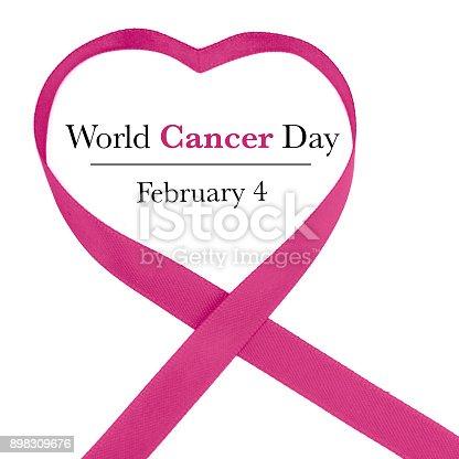 istock World Cancer Day Awareness ribbon. February 4 898309676