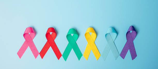world cancer day (february 4). colorful awareness ribbons; blue, red, teal, pink, purple and yellow color on wooden background for supporting people living and illness. healthcare and medicine concept - ovarian cancer ribbon stock pictures, royalty-free photos & images
