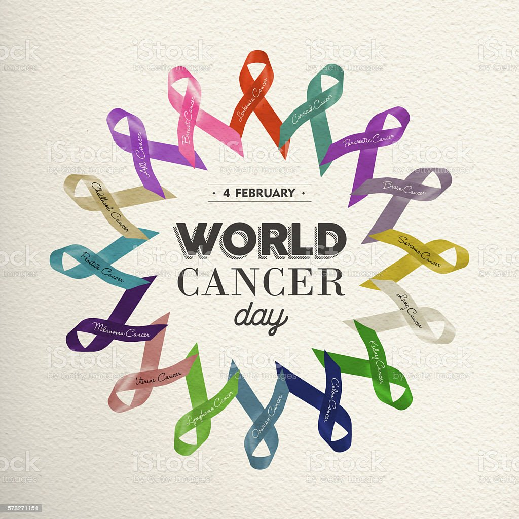 World cancer day design with awareness ribbons stock photo
