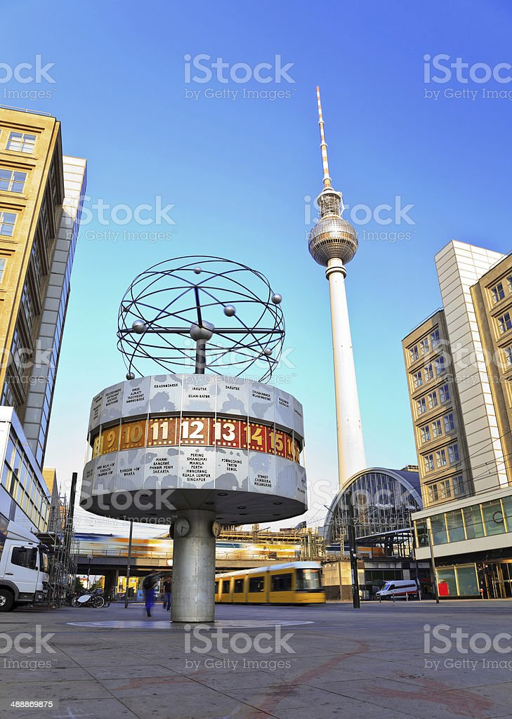 world clock of Berlin City, Germany stock photo