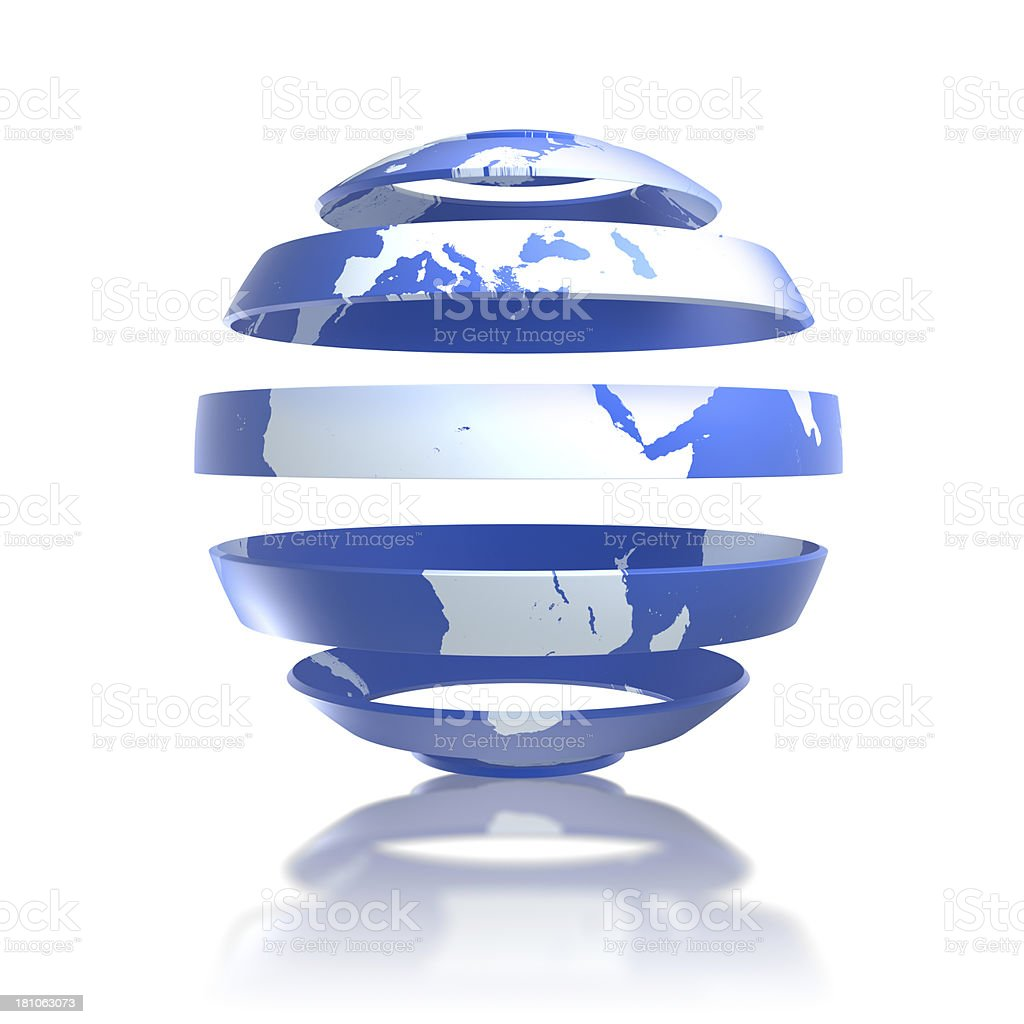 World concept -Earth globe in strips with clipping path royalty-free stock photo