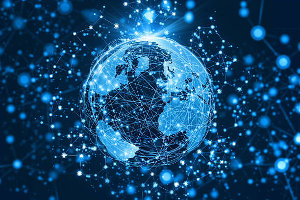 world connected by abstract communications network extending into space - jorden nyheter bildbanksfoton och bilder
