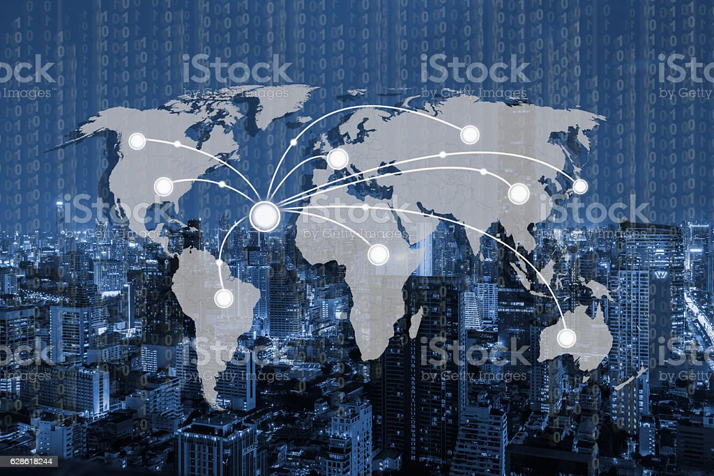 World connection and technology concept stock photo