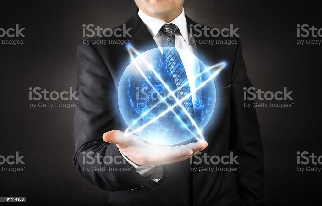 World connection on businessman hand World connection on businessman hand 2015 Stock Photo
