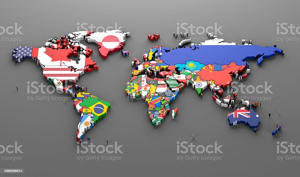 world countries flags map symbols -3d render stock photo