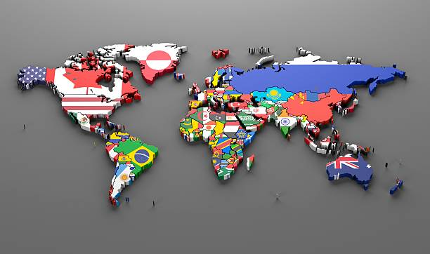 world countries flags map symbols -3d render - continent geographic area stock photos and pictures