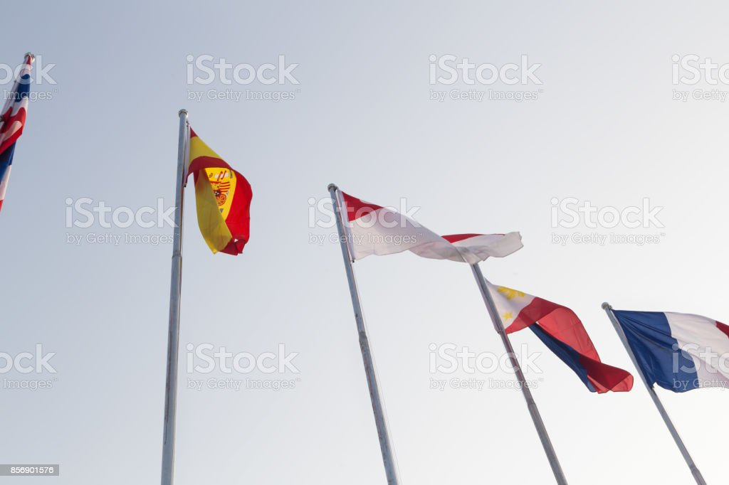 world countries map under sky stock photo