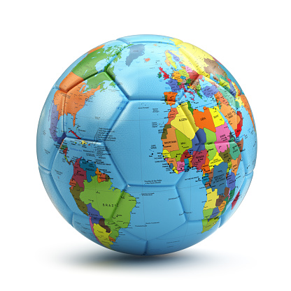World cup concept. Soccer or football ball with earth map.