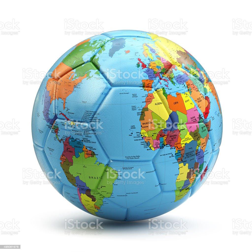 Concepto de la copa del mundo. De fútbol o fútbol de bola con Mapa de la tierra. - foto de stock