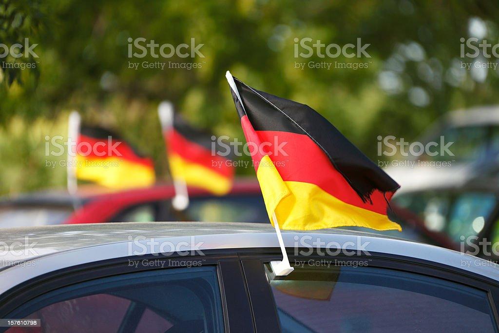 World Cup deutsche Flags für Autos - Lizenzfrei Auto Stock-Foto