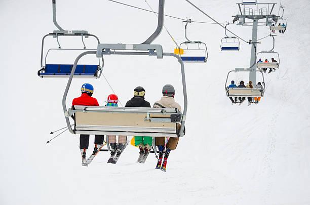 world cup ski lift center Bansko, Bulgaria stock photo