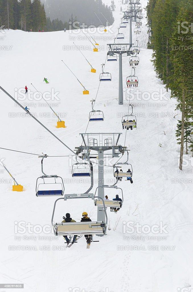 world cup ski lift center Bansko, Bulgaria royalty-free stock photo