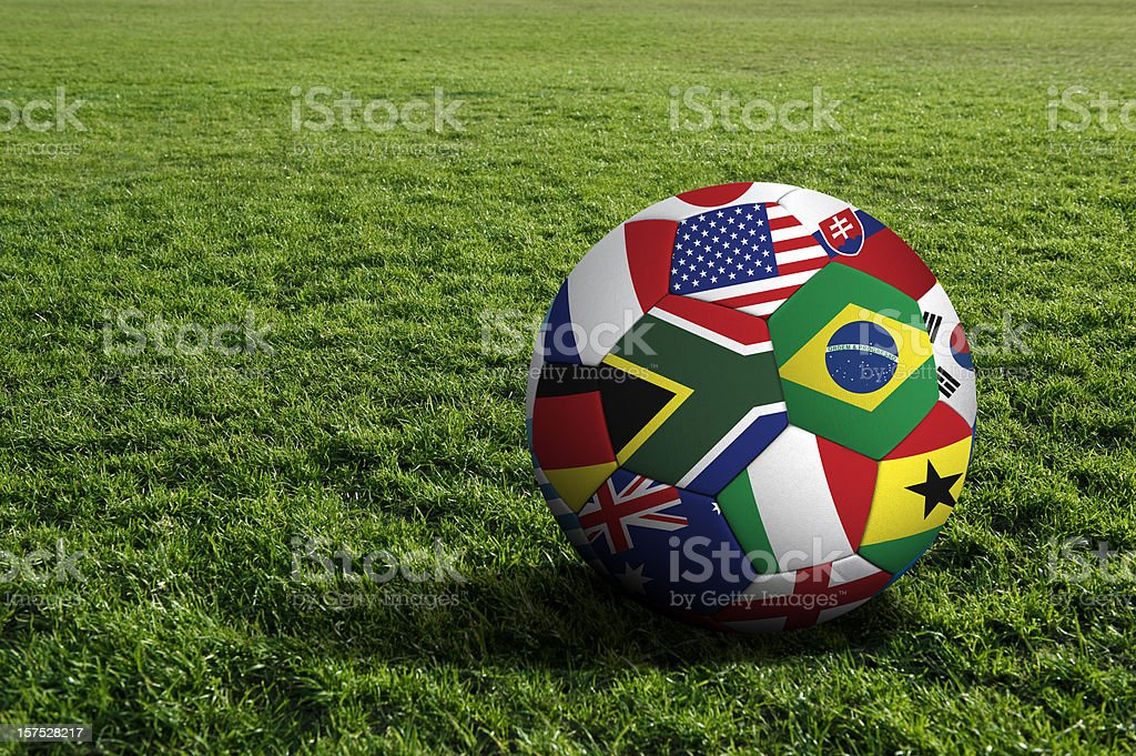 World cup soccer ball 2010 South Africa soccer ball with national flags Color Image Stock Photo