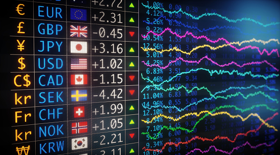 A side view on a currency exchange data table, with various important world currencies. The table expresses growth / decline rates with numbers and chart data.