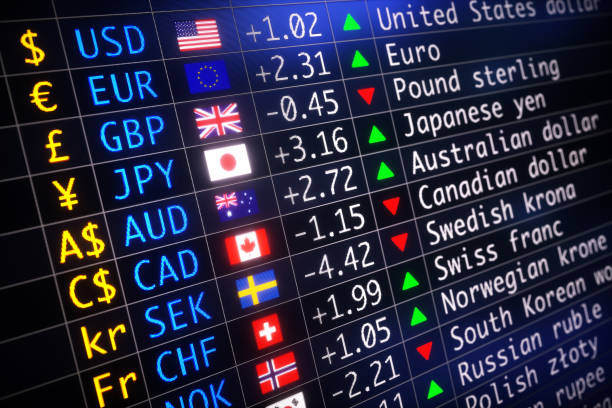 World Currency Exchange Table With Flags stock photo