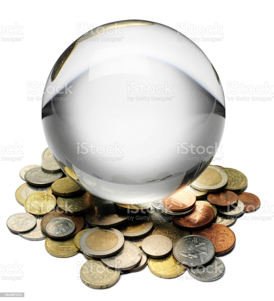 World Currency in a Crystal Ball royalty-free stock photo