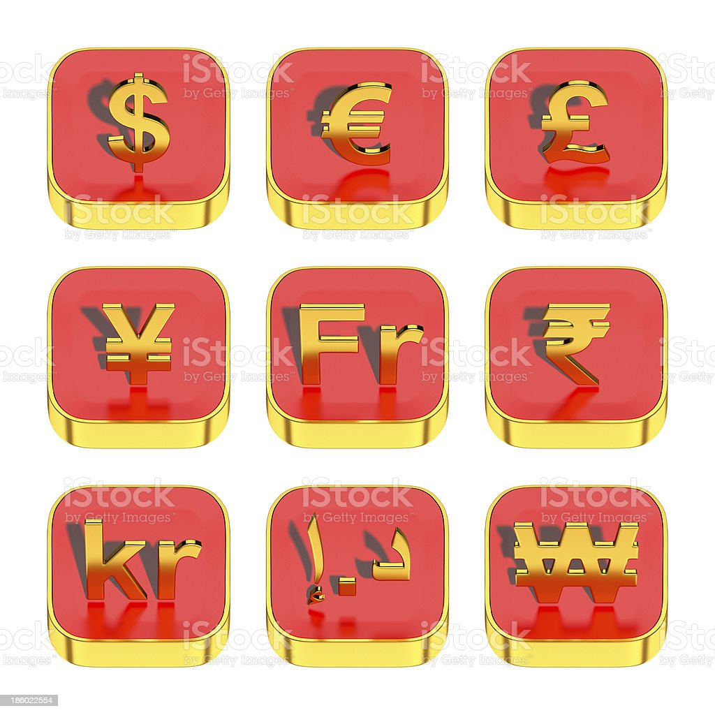 World currency symbols on 3d red app icon royalty-free stock photo