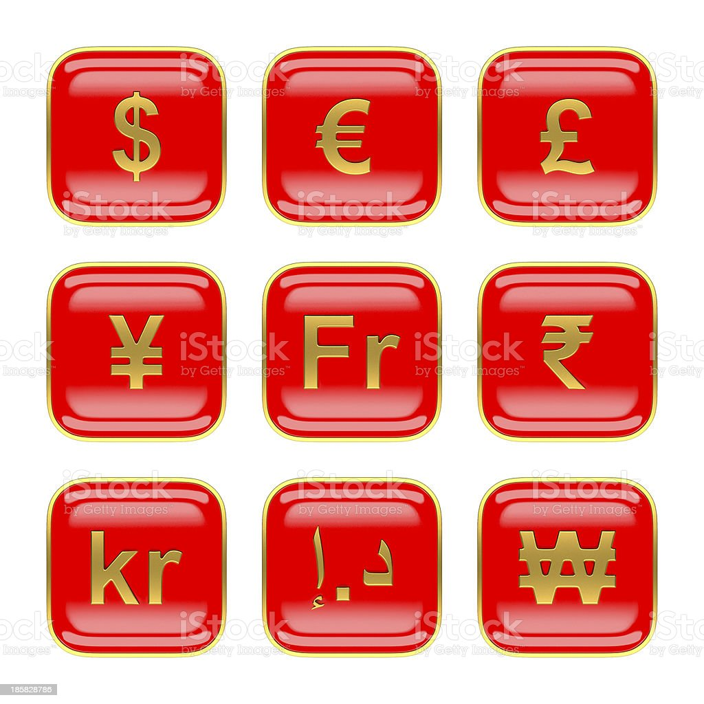World currency symbols on red app icon OS7 royalty-free stock photo