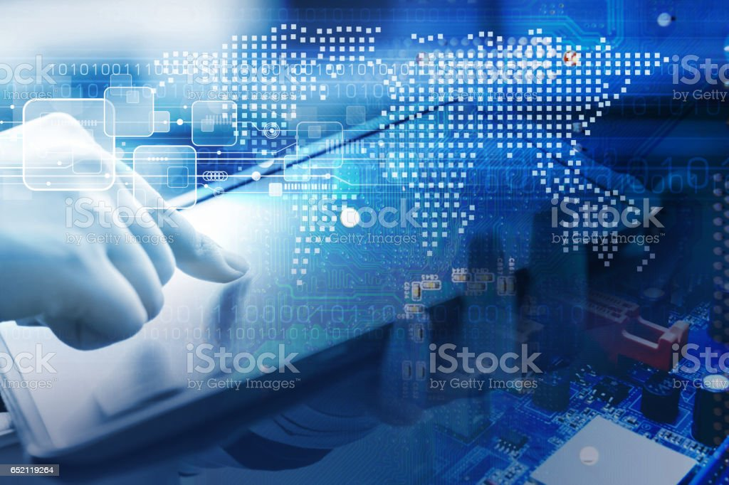 World digital concept of young woman are using digital tablet with technology design stock photo