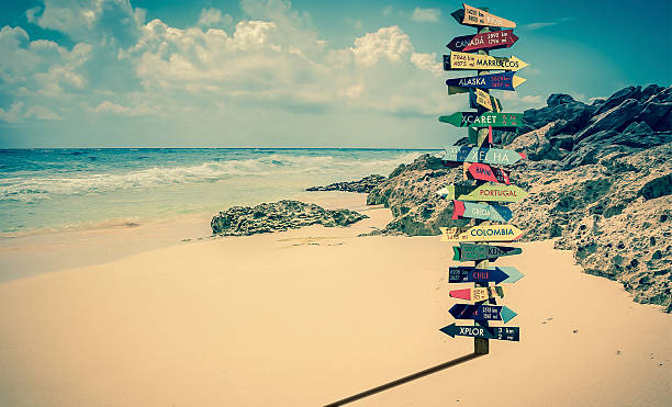 world directions signpost - travel destinations stock photos and pictures