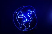 World drawn with neon blue lights with copy space. Studio shot with a black background. Light painting drawing.