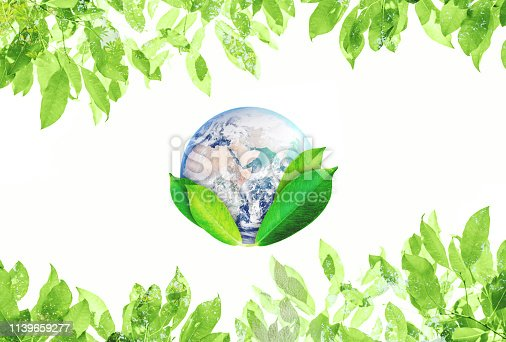 istock World Earth Day, Environmental Abstract sign symbol. The world with green leaves. Element of this image are furnished by NASA 1139659277